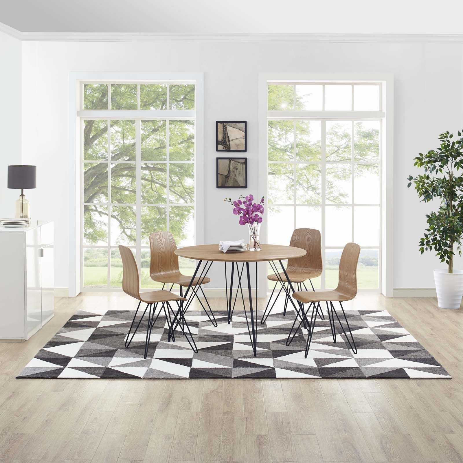 Kahula Geometric Triangle Mosaic 8x10 Area Rug in  Black, Gray and White Product Image