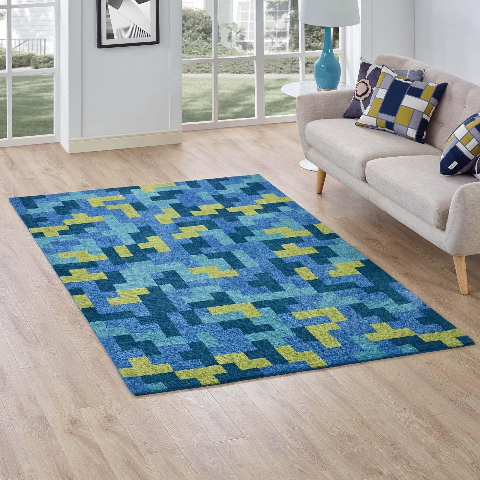 Andela Interlocking Block Mosaic 5x8 Area Rug in Multicolored Blue and Light Olive Green Product Image