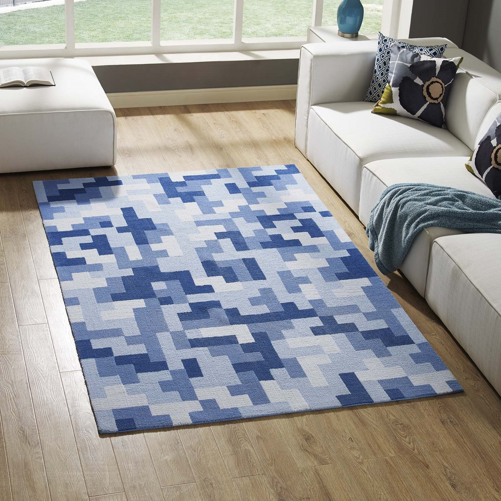 Andela Interlocking Block Mosaic 5x8 Area Rug in Multicolored Light and Dark Blue Product Image