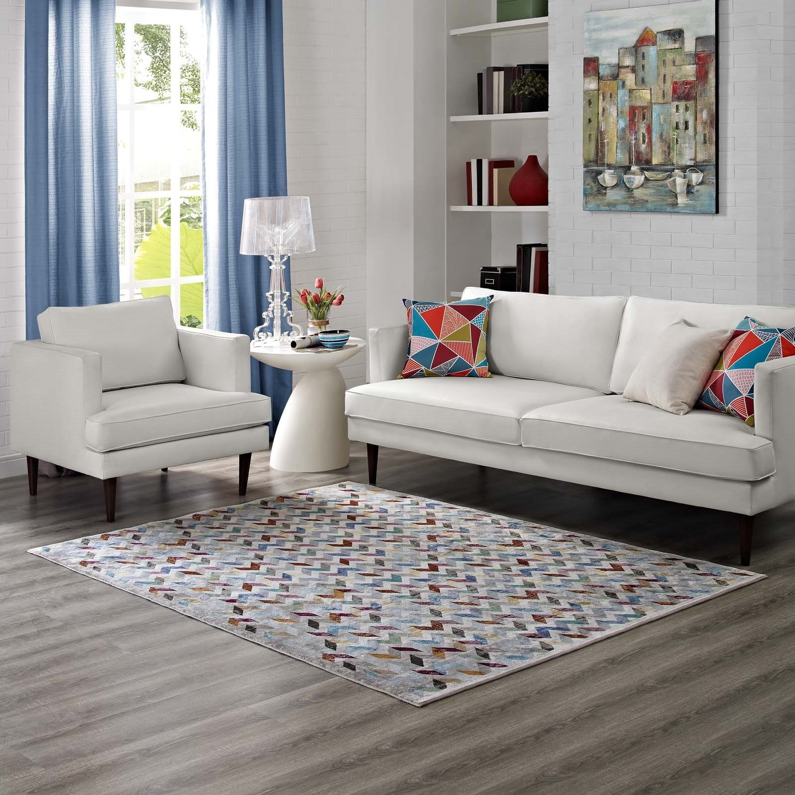 Gemma Chevron Mosaic 5x8 Area Rug in Multicolored Product Image