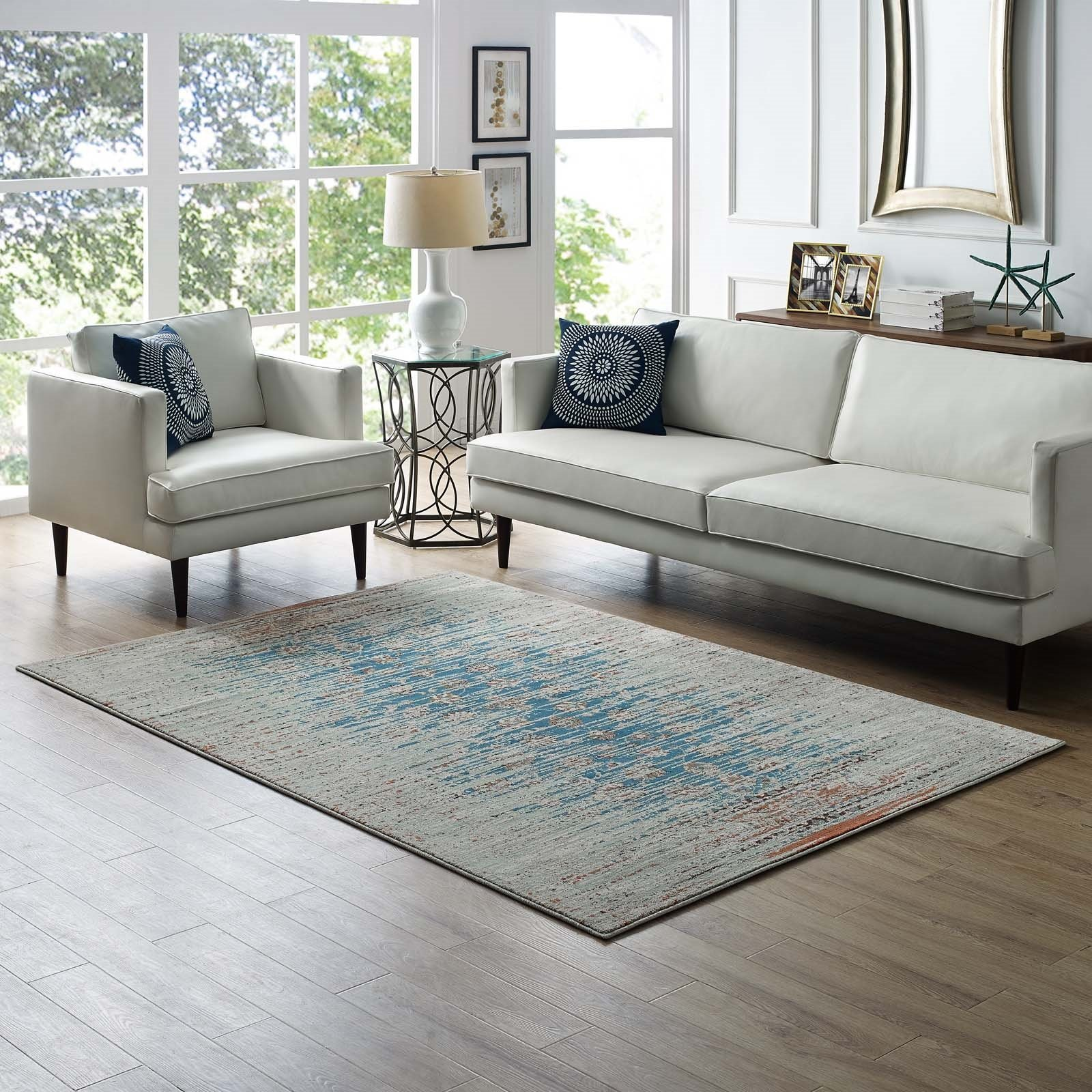 Hesper  Distressed Contemporary Floral Lattice 5x8 Area Rug in Teal, Beige and Brown Product Image