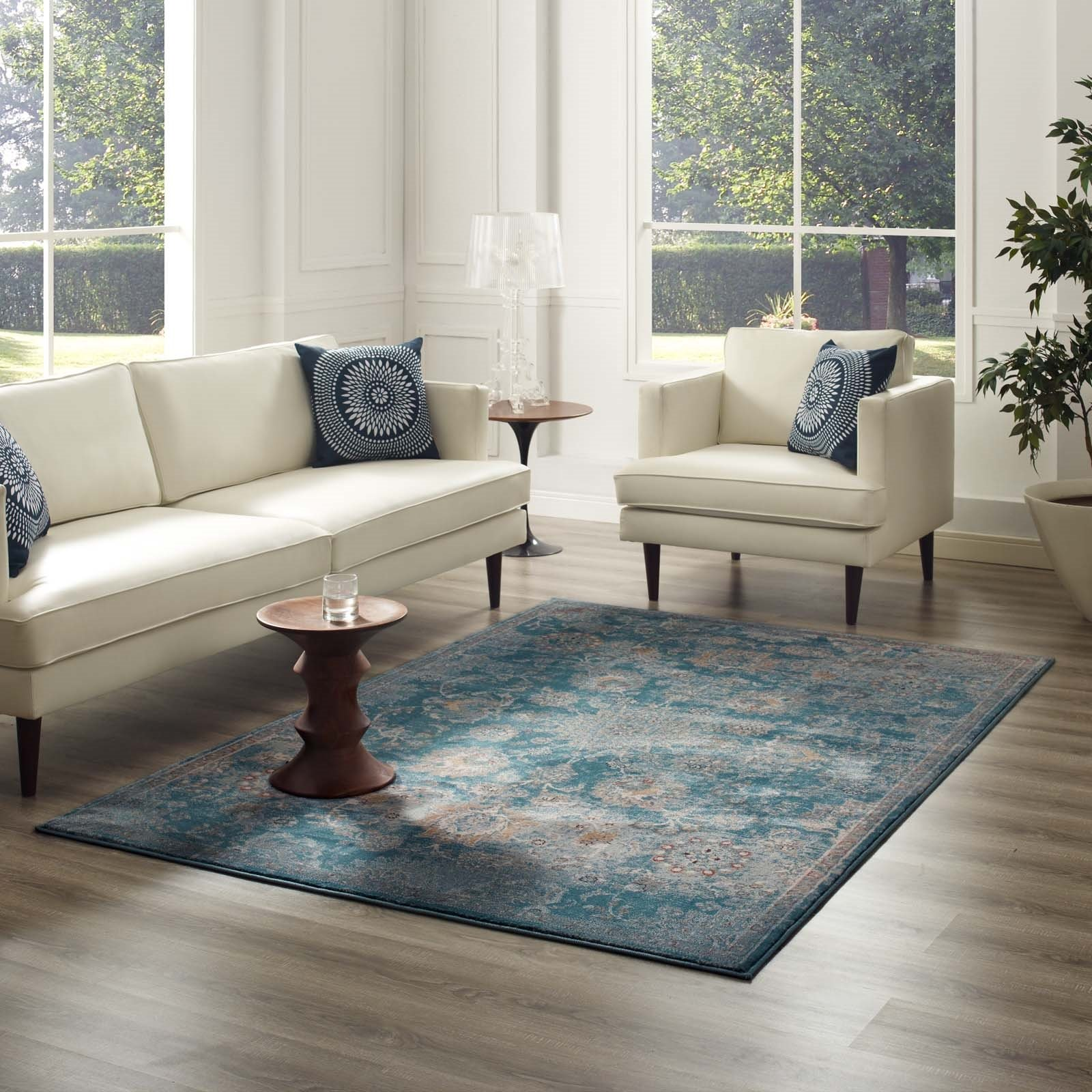 Cynara Distressed Floral PersianMedallion 8x10 Area Rug in Silver Blue, Teal and Beige Product Image