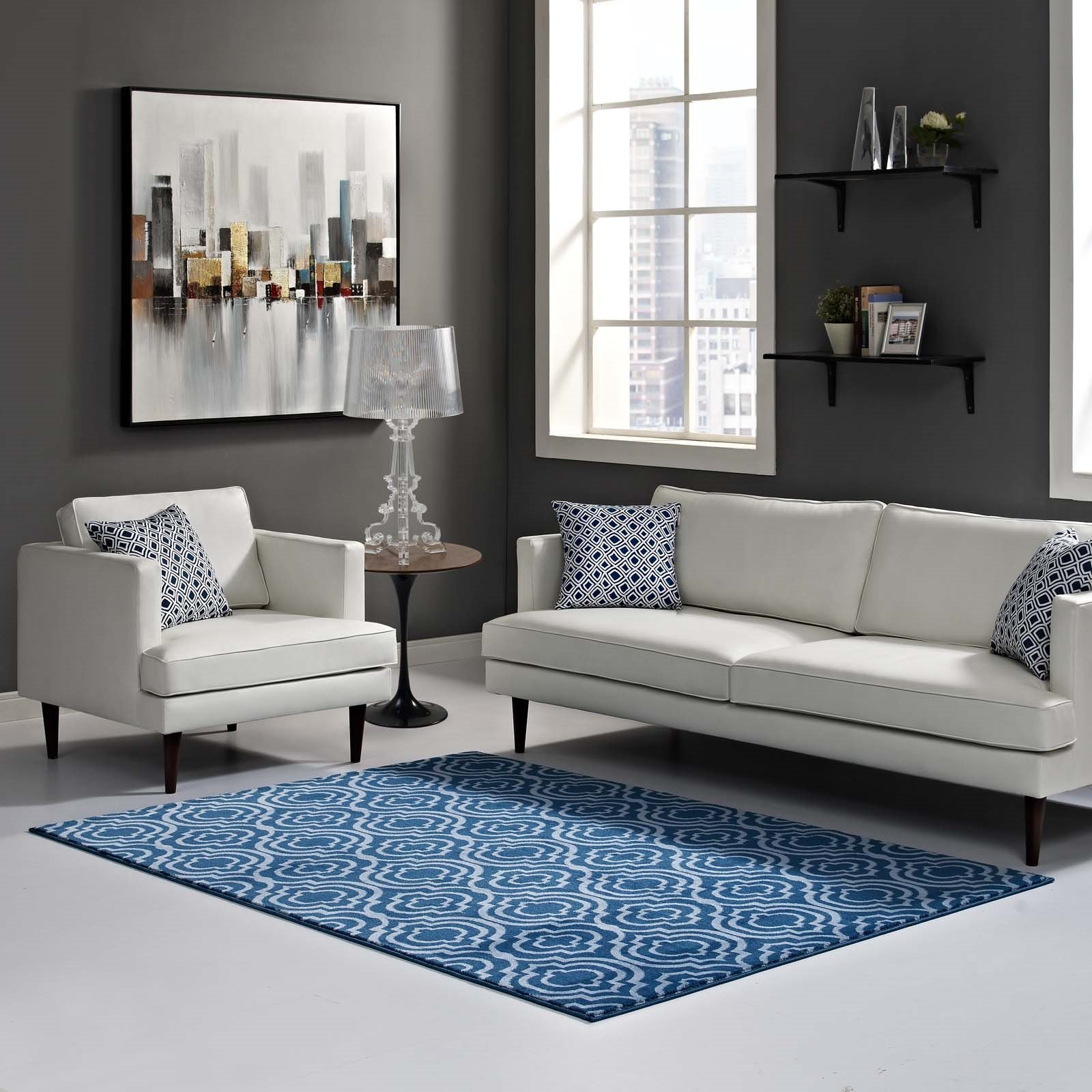 Frame Transitional Moroccan Trellis 8x10 Area Rug in Moroccan Blue amd Light Blue Product Image