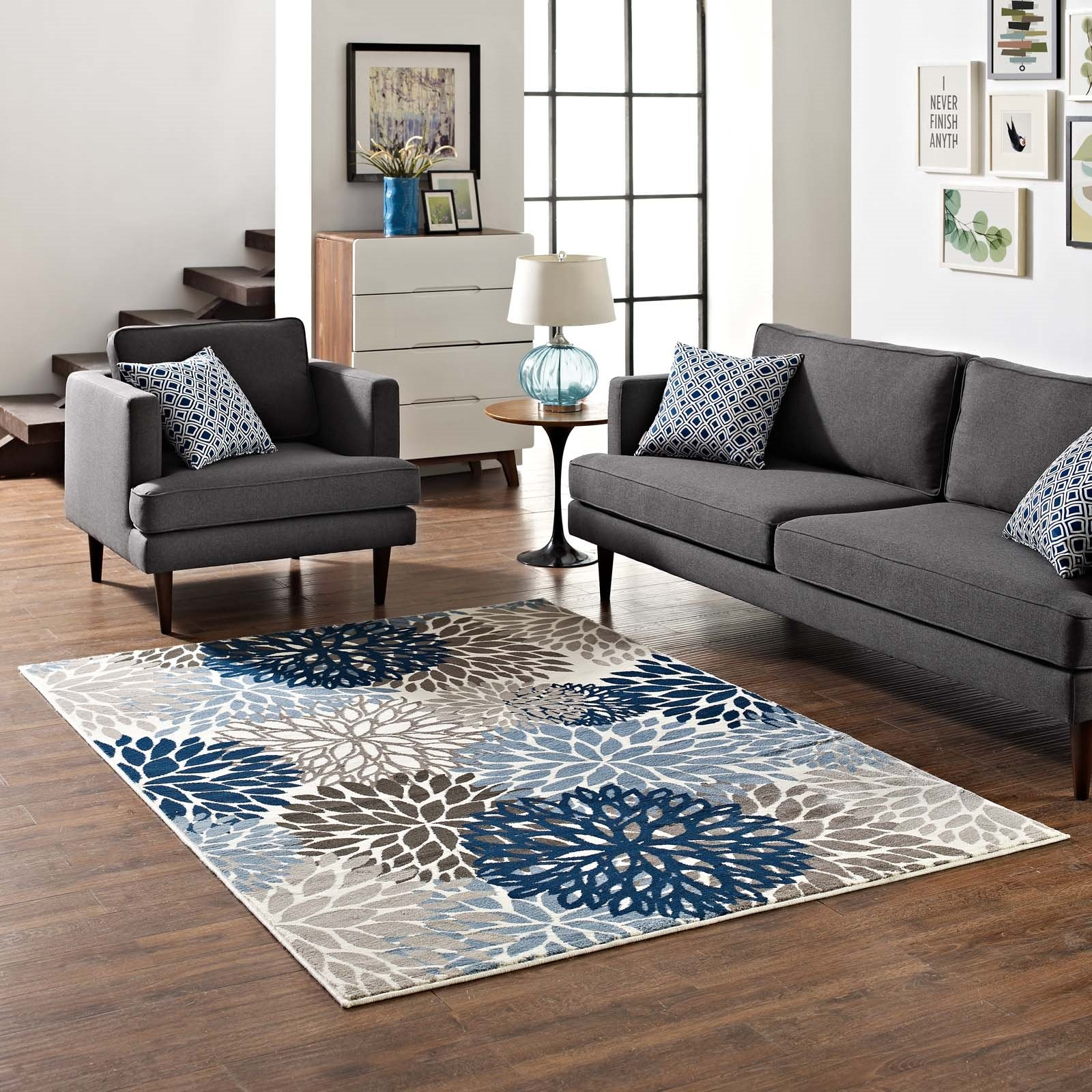 Calithea Vintage Classic Abstract Floral 5x8  Area Rug in Blue, Brown and Beige Product Image