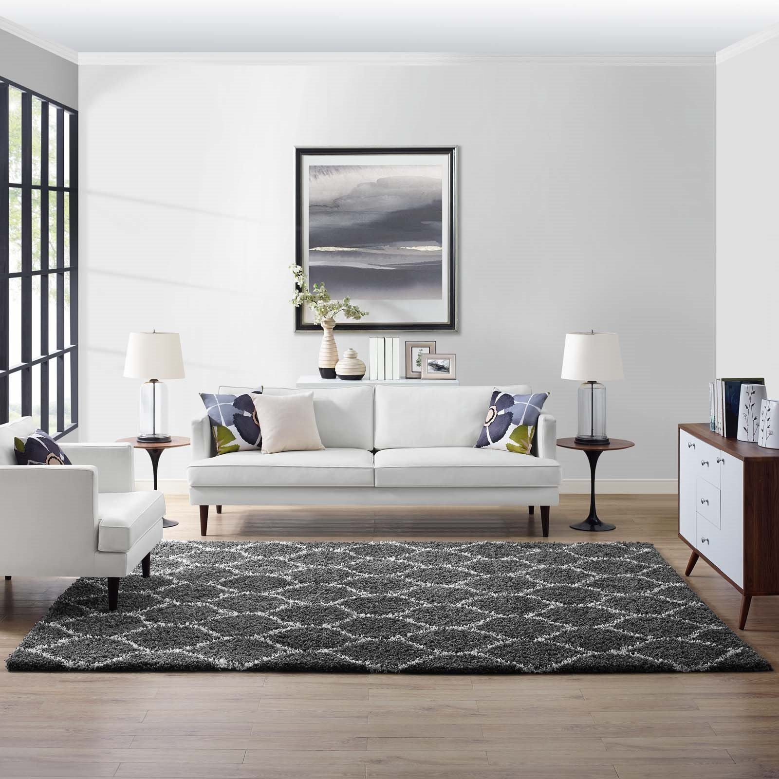 Solvea Moroccan Trellis 8x10 Shag Area Rug in Dark Gray and Ivory Product Image