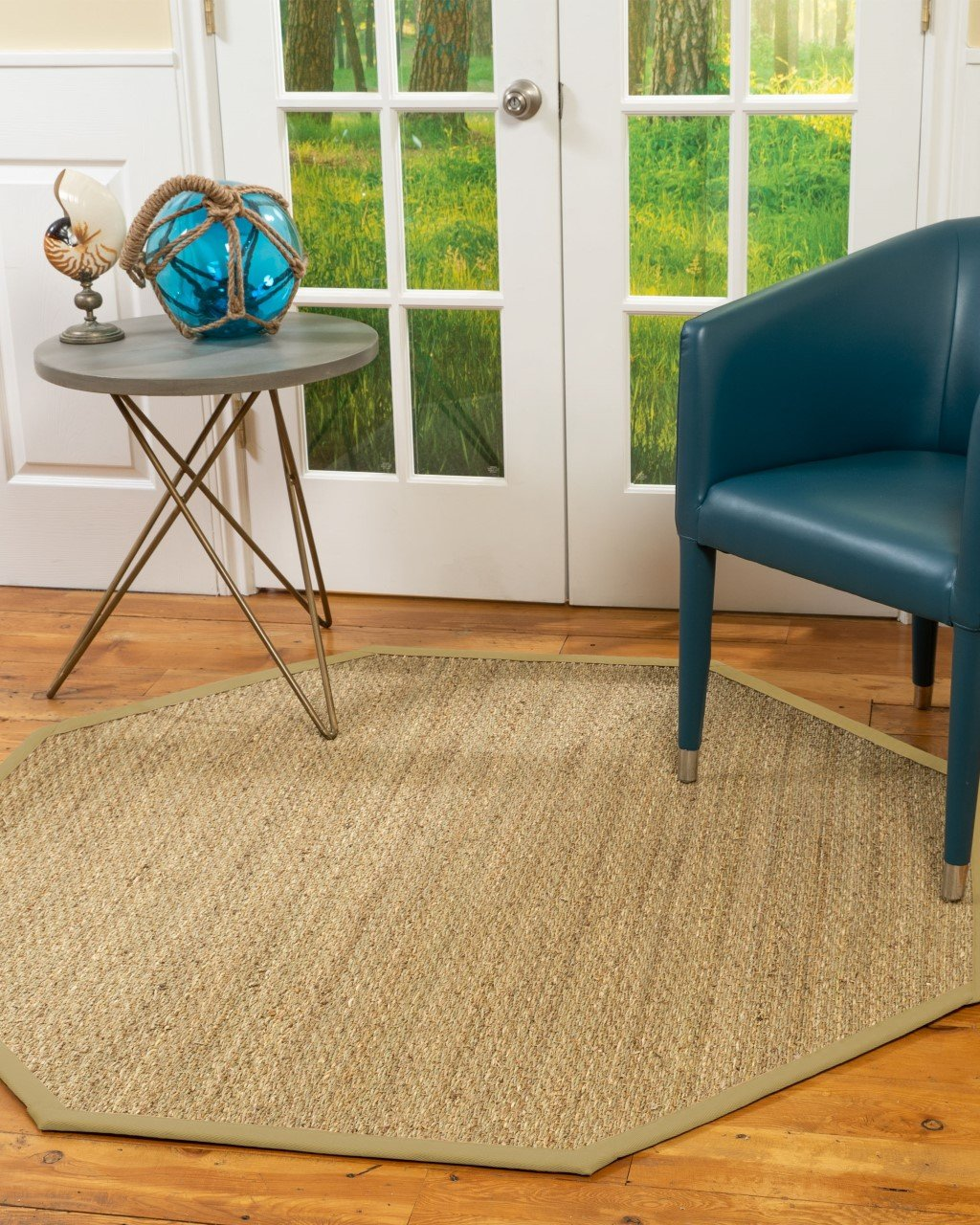 Mayfair Seagrass Rug, Sage Border, 10' Octagon Product Image