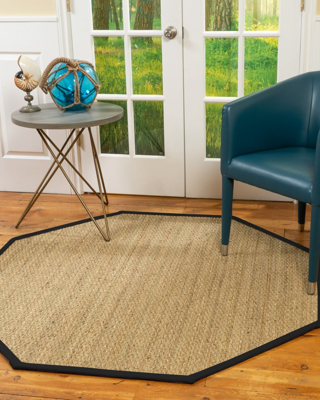 Mayfair Seagrass Rug w/ Extra Wide Black Border, 8' Octagon Product Image