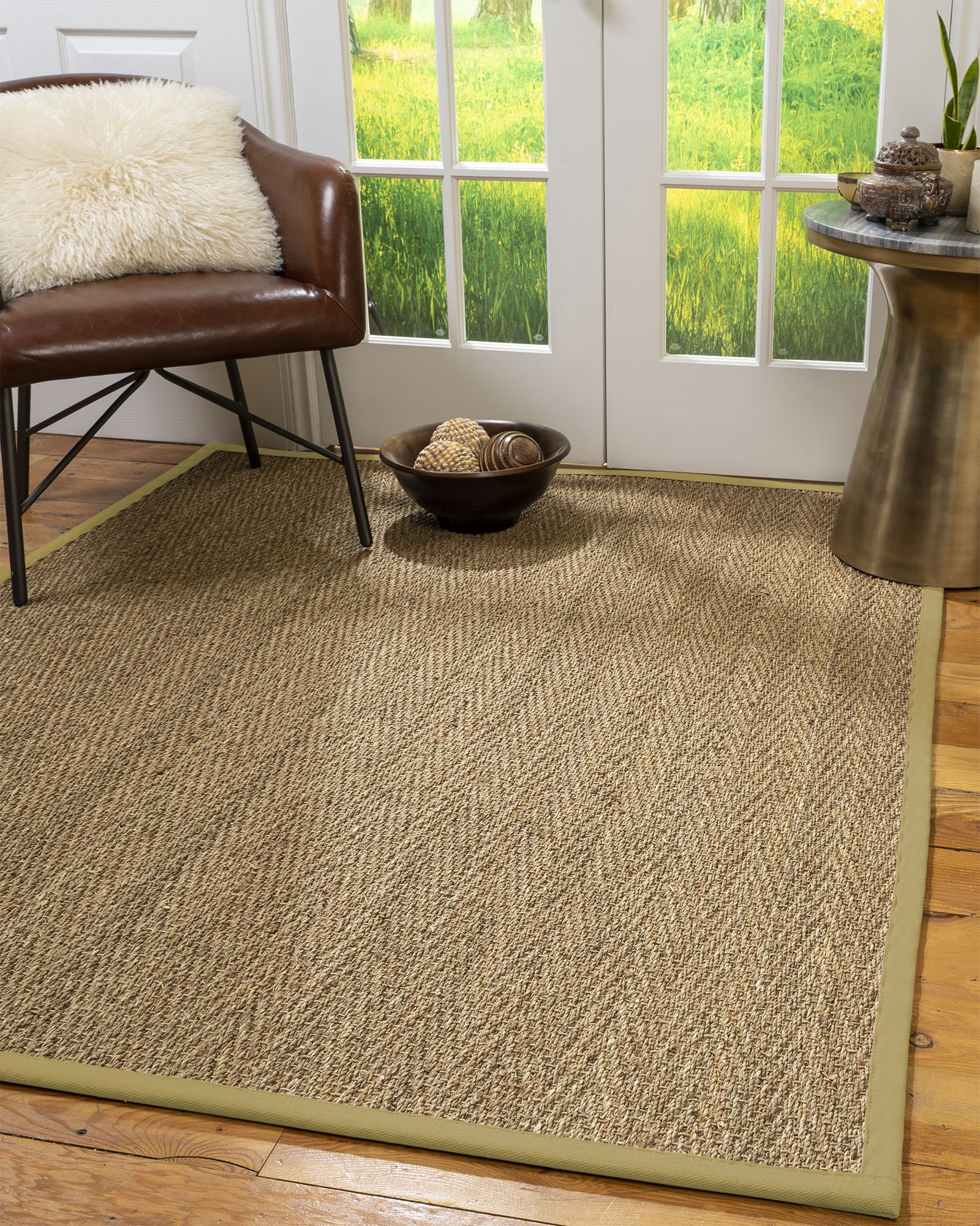 Optimum Seagrass Rug, Sage Border, 6' Octagon Product Image
