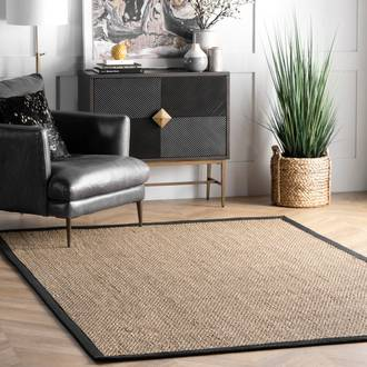 Black Maui Seagrass with Border rug