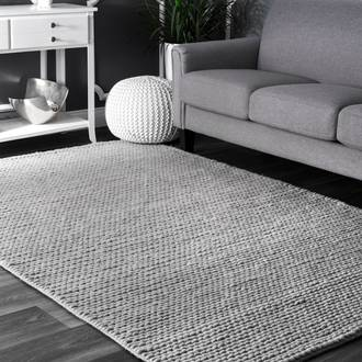 Light Gray Textures Braided rug