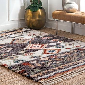 Gray Hearthside Moroccan Diamond Shag With Tassels rug