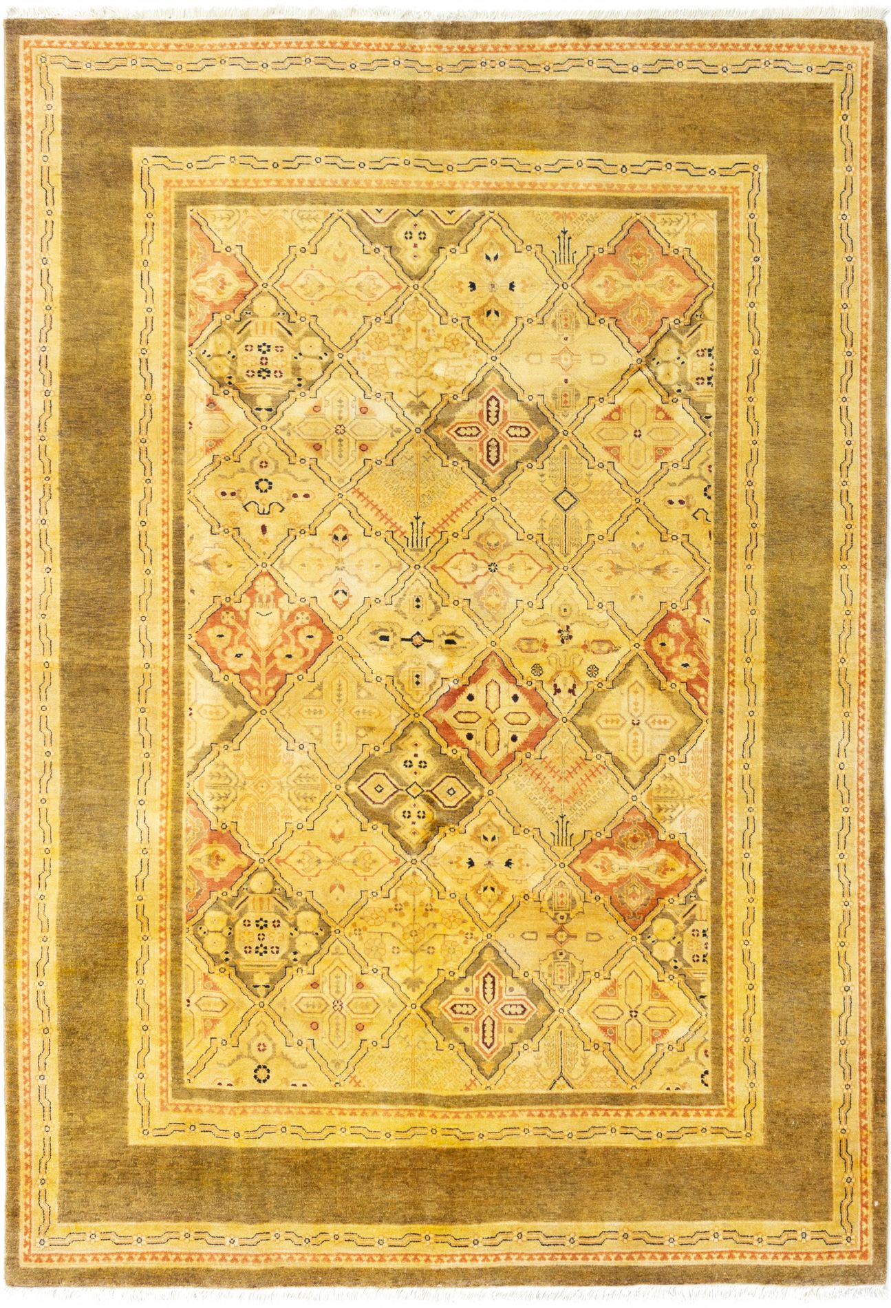 Hand-knotted Finest Ziegler Chobi Cream Wool Rug 6'0in x 8'0in  Product Image