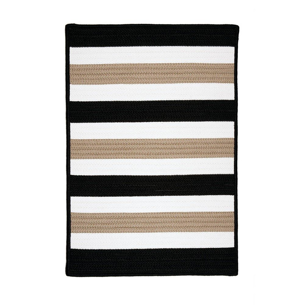 Railroad Stripe Braided Area Rug Black