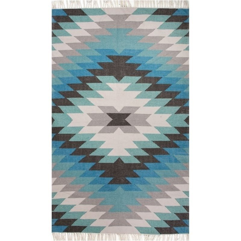 Jaipur Living Desert 8' x 10' Polyester Rug in Blue and Green Product Image