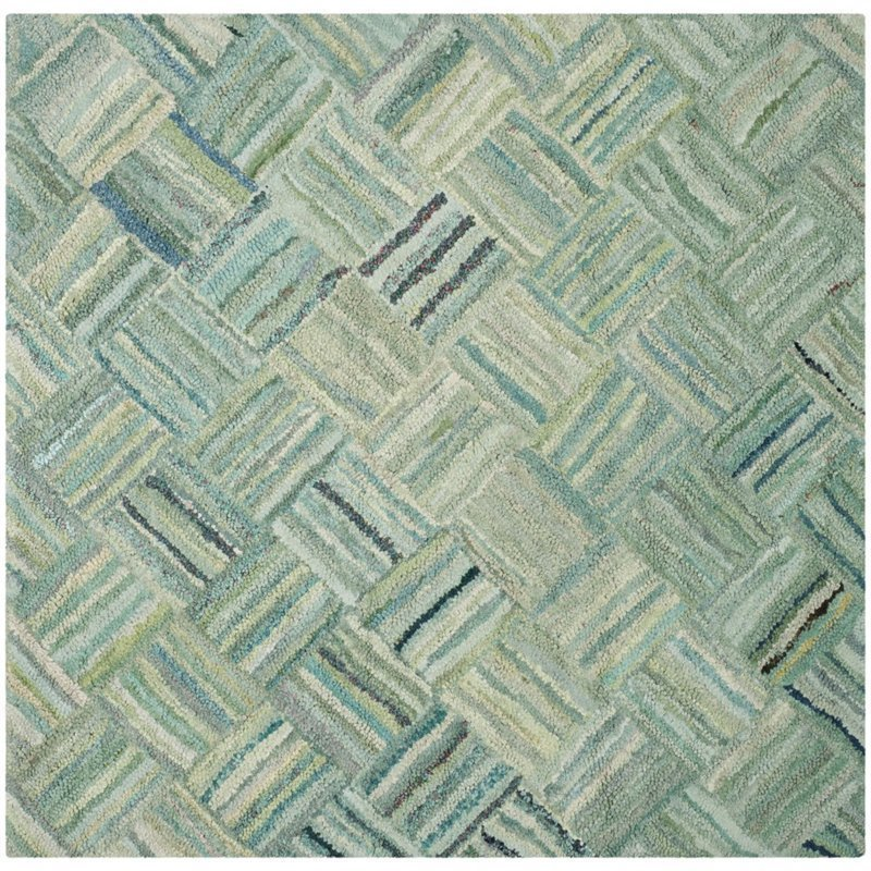 Safavieh Nantucket 8' Square Hand Tufted Cotton Pile Rug in Green Product Image