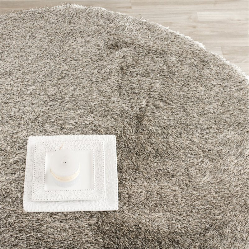 Safavieh Paris Shag 9' Round Hand Tufted Polyester Rug in Sable Product Image
