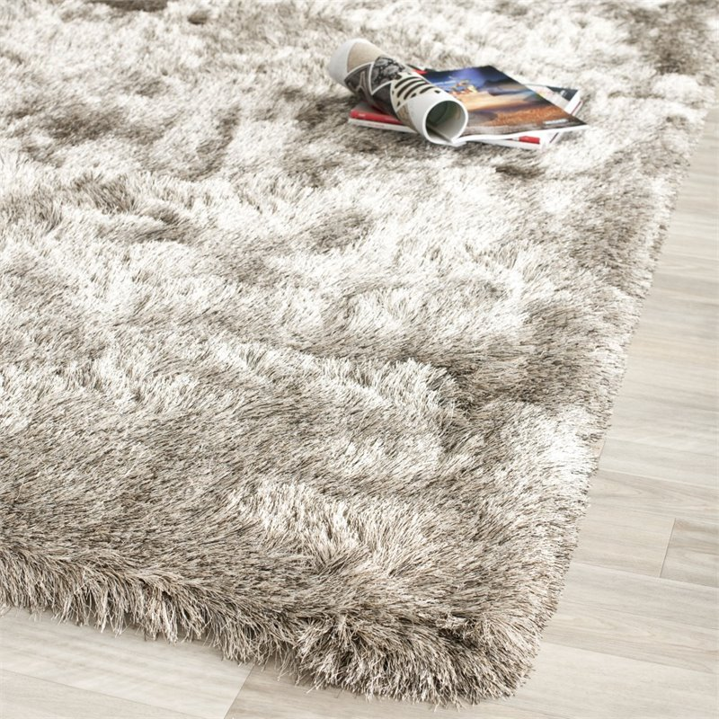 Safavieh Paris Shag 9' Square Hand Tufted Polyester Rug in Sable Product Image