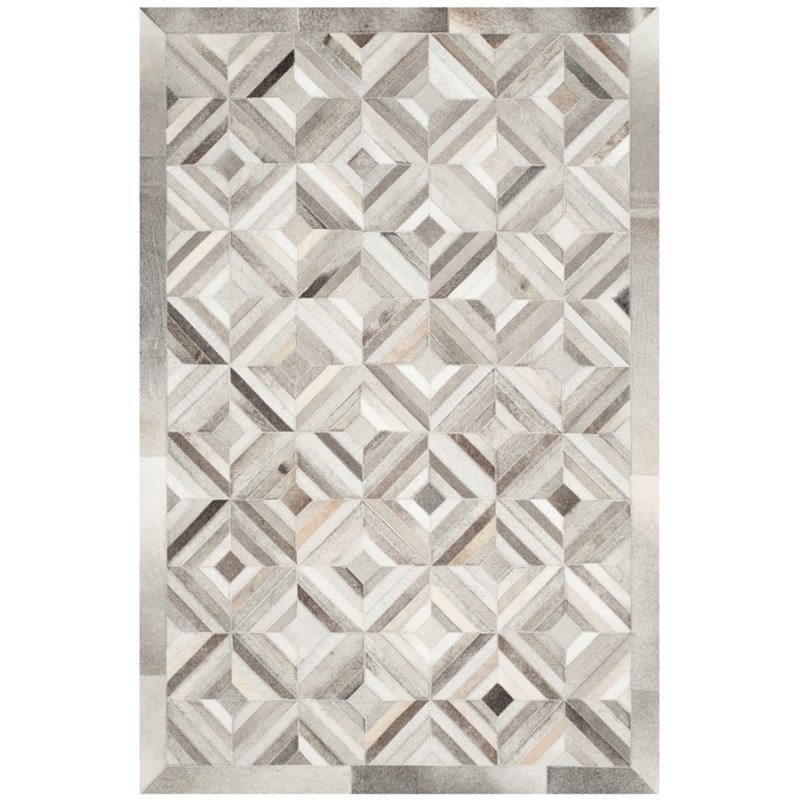 Safavieh Studio Leather 4' X 6' Hand Woven Leather Rug in Gray Product Image