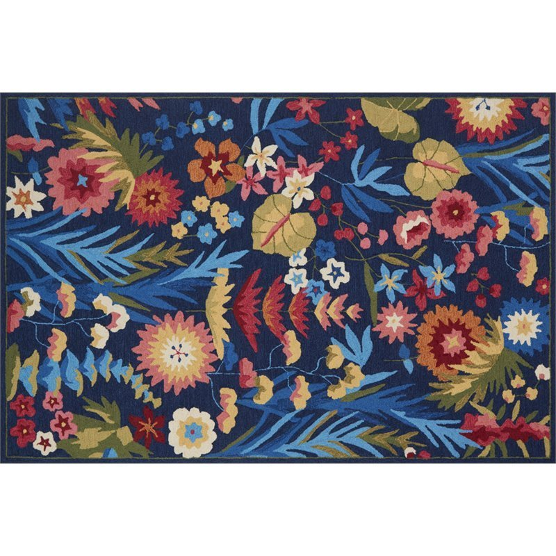 Loloi Francesca 3' Round Hand Hooked Rug in Navy and Fiesta Product Image
