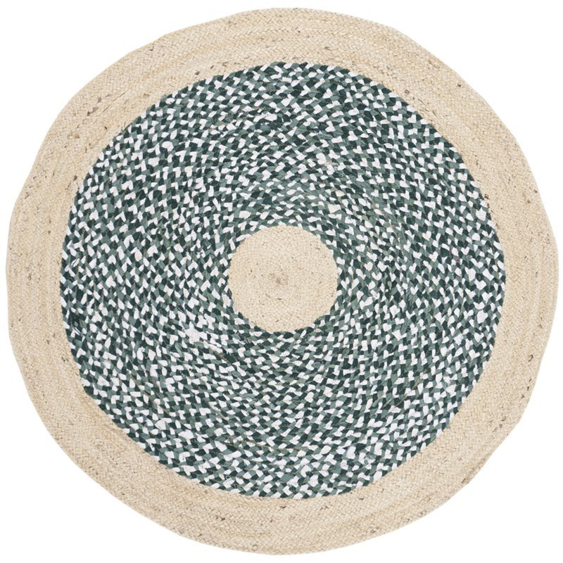 Safavieh Cape Cod 3' Round Hand Woven Jute Rug in Blue and Natural Product Image