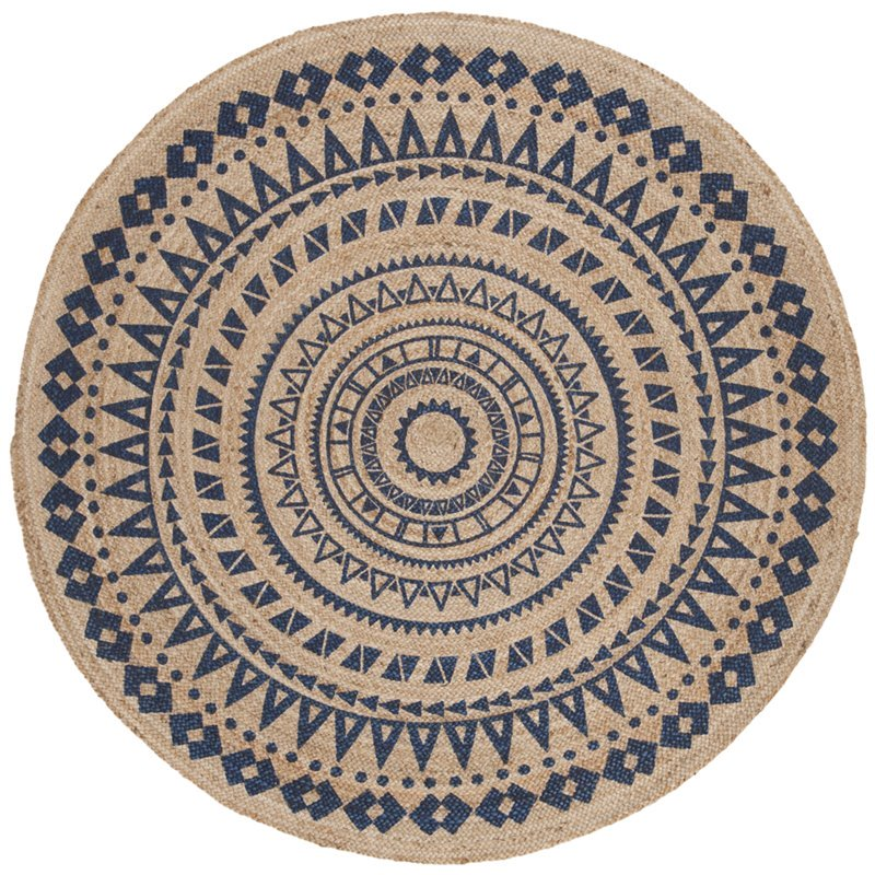 Safavieh Natural Fiber 3' Round Hand Woven Jute Rug in Royal Blue Product Image
