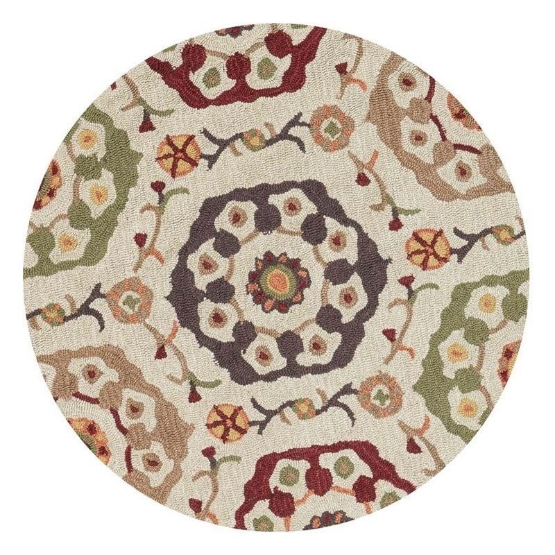 Loloi Francesca 3' Round Hand Hooked Rug in Beige Product Image