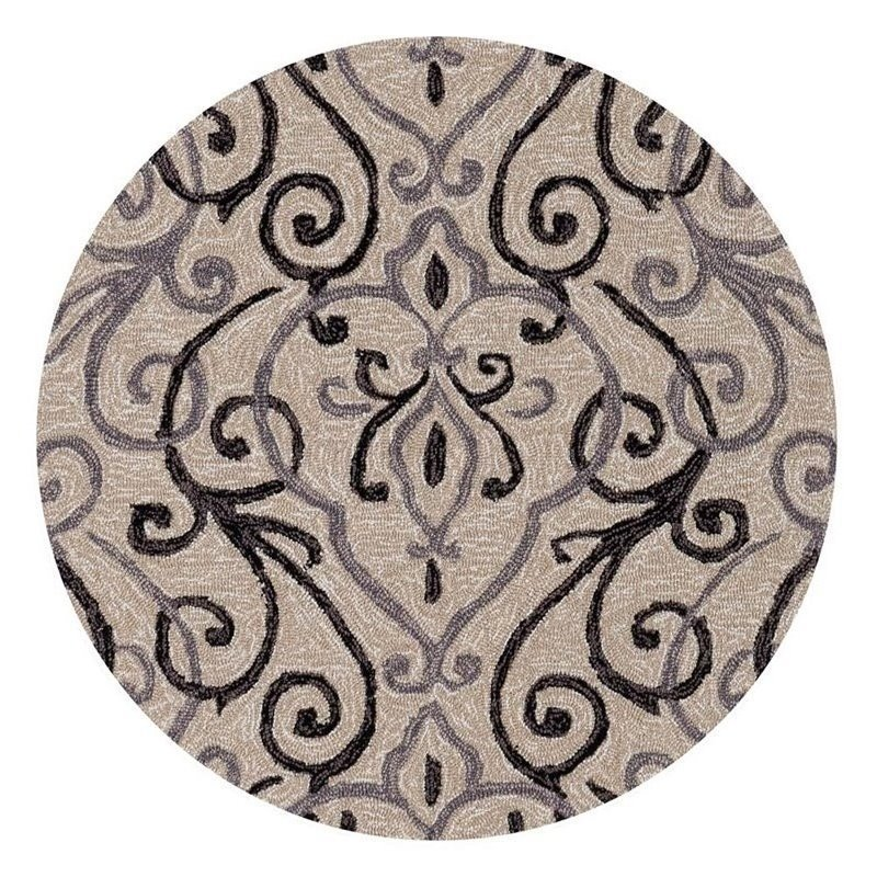 Loloi Francesca 3' Round Hand Hooked Rug in Ivory and Gray Product Image