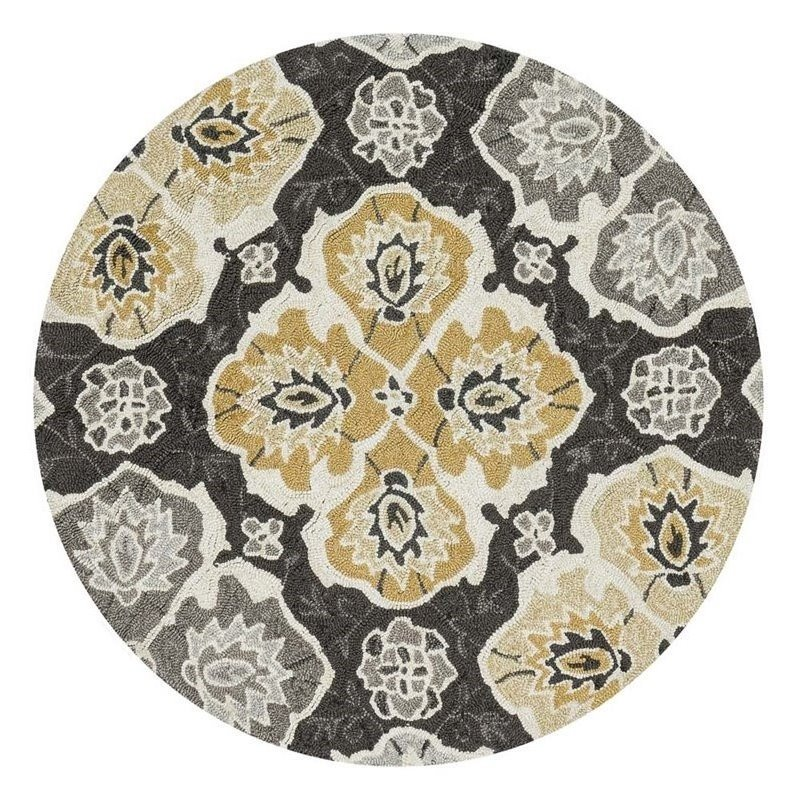 Loloi Francesca 3' Round Hand Hooked Rug in Charcoal Product Image