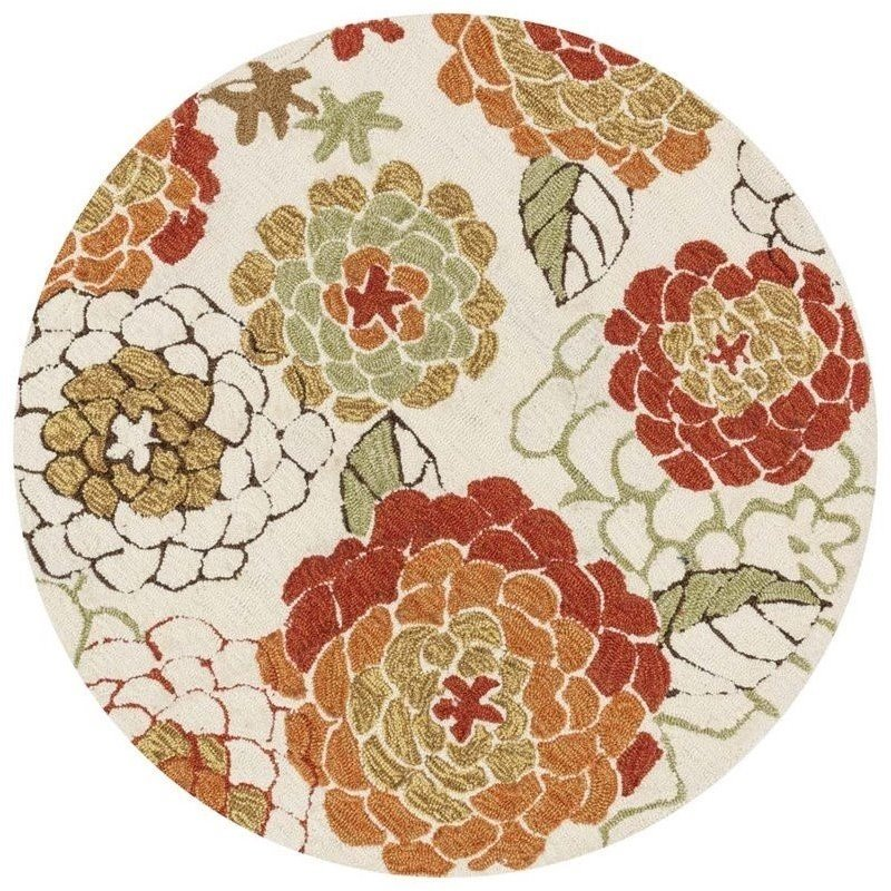 Loloi Francesca 3' Round Hand Hooked Rug in Ivory and Spice Product Image