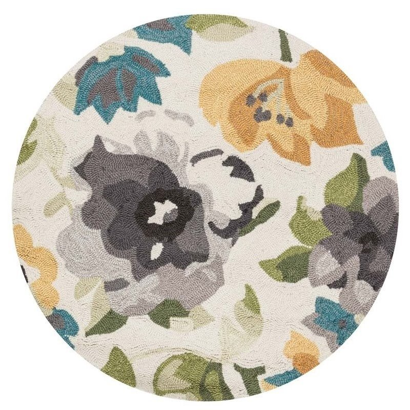 Loloi Francesca 3' Round Hand Hooked Rug in Gray and Yellow Product Image