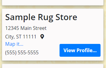 Sample business listing with profile at RugsBySize.com