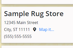 Sample business listing at RugsBySize.com