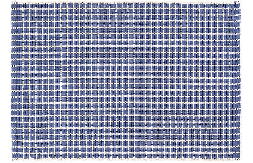 Gridiron Indoor/Outdoor Rug - Denim - DASH & ALBERT - 6'x9' Product Image